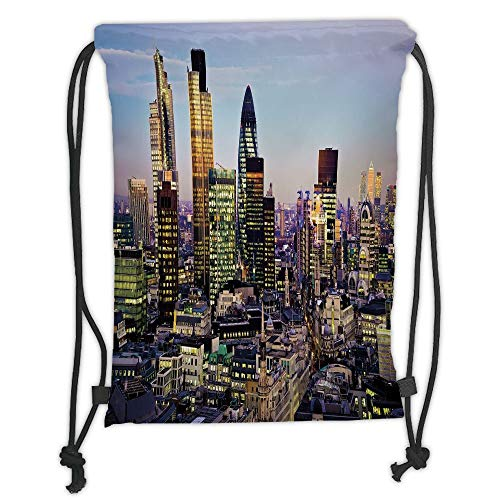 Fashion Printed Drawstring Backpacks Bags,City,Modern Architecture of Downtown London Center of Global Finance Famous Capital City,Multicolor Soft Satin,5 Liter Capacity,Adjustable String Closure,