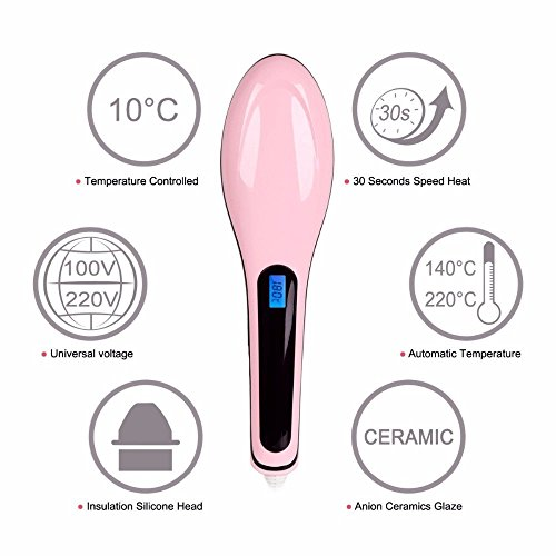 Vmoni Fast Hair Straightener Brush With Temperature For Women (Pink)