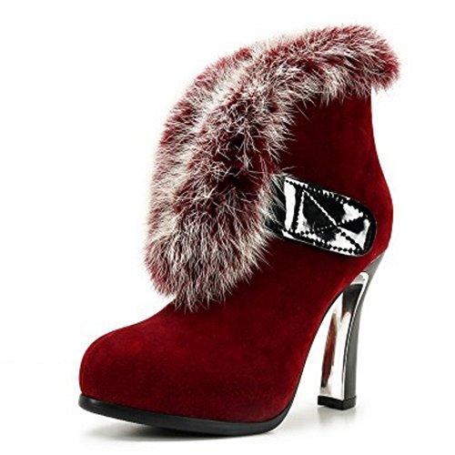 TAOFFEN Damen Mode-Event Fransen Blockabsatz Chelsea Stiefel Spitze Toe Reißverschluss Knöchelriemchen Mit Wolle Rotwein