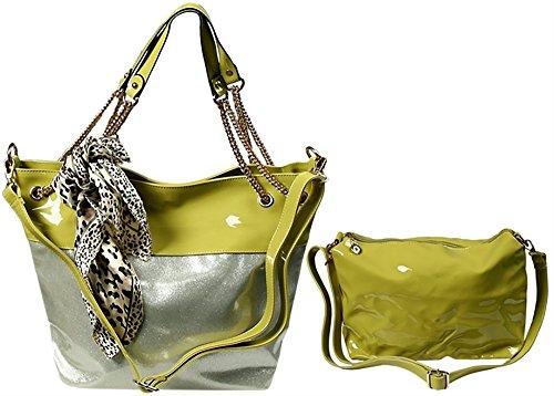 Fancery 2-in-1 Handtasche mit kleiner Tasche und passendem Tuch - Oliv mit Silber