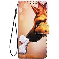 Phcases Funda Cubierta de Teléfono LG W10 Cuero Premium con Pintura Colorida en Anti Golpes y Billetera con Ranura para Tarjetas, Cierre Magnético-Beso de Perro.