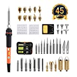 Wood Burning Pen, Genround 45Pcs Wood Burning Kit Pyrography Tool Kit/Electric Soldering Iron Kit Set Incl Wood Craft Burning Tips, Soldering Tips, Stencil, Converter, Stand and Storage Bag