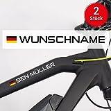 Motoking Fahrradaufkleber Name & Flagge - 2 Stück - Ihr Wunschname für Ihr Rennrad/Fahrrad - Wähle Größe & Farbe
