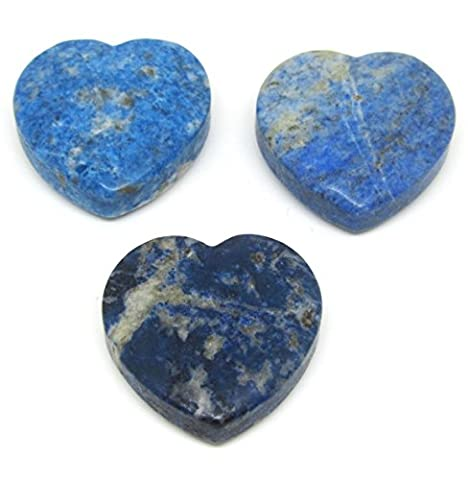 Lapis Lazuli Heart Shape 30 x 30 mm in Blue with Hole