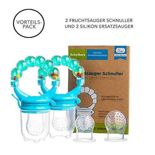 Baby Fruchtsauger Schnuller für Obst und Gemüse - Aus Premium Silikon zu 100{c75a3bd5617dc1553250eb54428ea1d577eac2d66b4a51368a03f104027908c3} BPA-frei - Fruchtschnuller Set (Blau)