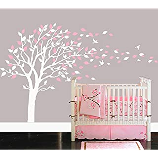 BDECOLL Nursery Wall Stickers,Cherry Blossom Tree Wall Decals,Flying Birds Wall Art for Living Room (White)