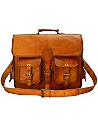 Vintage Handmade Genuine Brown Leather Laptop And Messenger Bag And Office Bag For Znt Bags - B0795TLKP3