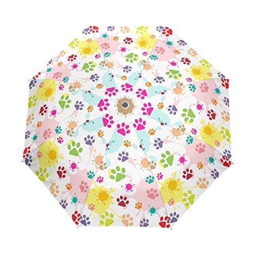 Bennigiry colored puppy orme antivento e impermeabile da viaggio compatto ombrello–borsa aperta vicino ombrello pieghevole ombrellone robusta leggero facile da trasportare per gli uomini, donne e bambini