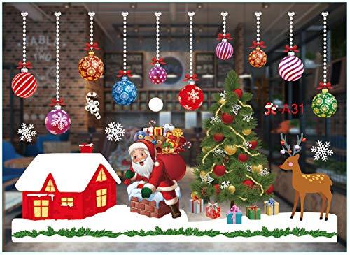 Palle di Neve Colorate con Babbo Natale che Invia Regali Adesivo per Finestra di Natale