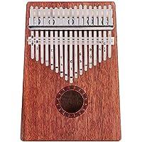 Dilwe Pulgar Piano, 17 Clave C4 a E6 Profesional Portátil Pulgar Piano Instrumento Sólido Finger Piano Cuerpo de Caoba con Bolsa