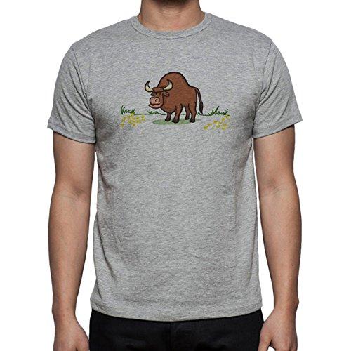 Bull Cow Animals Farm Big Brown Alone Herren T-Shirt Grau