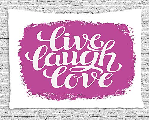 VTXWL Live Laugh Love Decor Tapestry, Motivational Lifestyle Typography on Paintbrush Urban Illustration, Wall Hanging for Bedroom Living Room Dorm, 80 W X 60 L Inches, Fuchsia White -