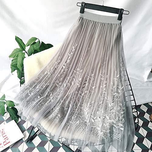 Kinder Kostüm Mini Grau Anzug - CHZDDQ Kurzer Rock Blumenstickerei A-Linie Tutu-Spitze-Ineinander Greifen-Rock-Frauen-Eleganter Tulle-Langer Plisseerock-Frauen-Midi-Rock-Sommer Eine Größe Grau