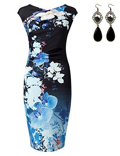 Sitengle Damen Kleider Elegant Festlich Printkleider Blumen Drucken Bunte Kleider hit Farbe Slim Ärmellose Abendkleid Casualkleider Blau S (Chiffon Drucken Maxi-kleid)