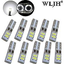 WLJH 10pcs T5 cuña W3 W 3014 SMD 73 74 led bombilla interior de coche Panel de instrumentos velocímetro Velocímetro Gauge Cluster lámpara Dash LED bombillas (blanco)