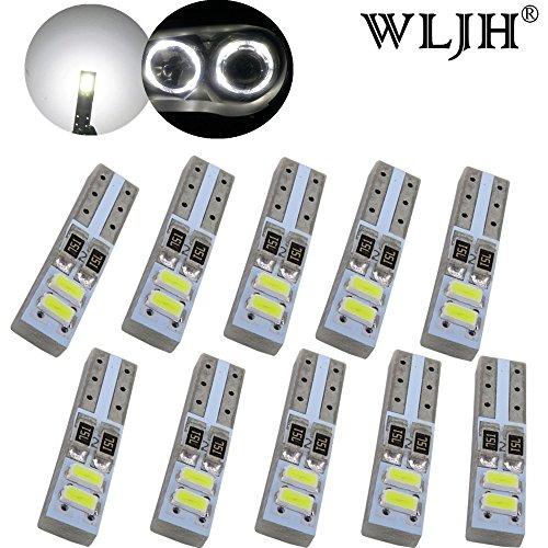 WLJH 10 pcs T5 Blanc 6000 K CANBUS erreur gratuit LED Yeux d'ange Halo Bague marqueur ampoules