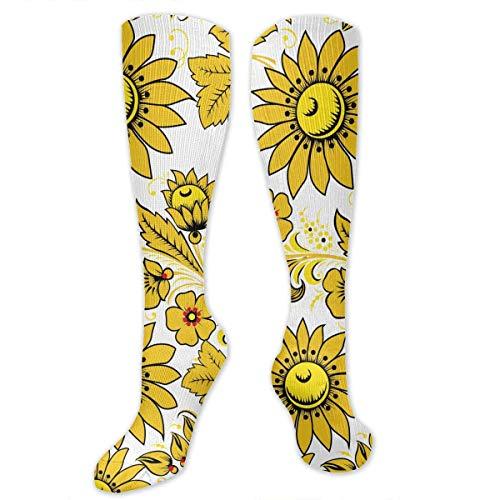 Calcetines amarillos mujer decorados con flores amarillas