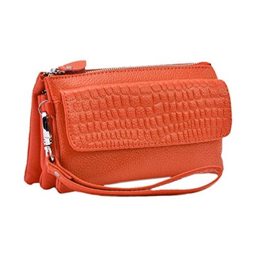 GGTFA Frauen Dame Mode-Leder-Handtasche Long Wallet Case Halter Portemonnaie Clutch Tasche Orange