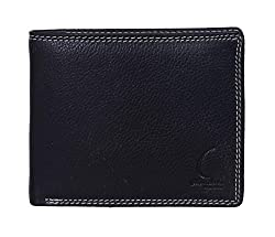 Chandair Pure Leather Deep Black with White Double Stitch Mens Wallet (KL-CH-53)