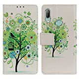 EUDTH HTC U19e Hülle, Premium PU Leder Tasche Handyhülle Brieftasche Hülle Cover mit Ständer und Kartenfächer Bookstyle Wallet Case Schutzhülle für HTC U19e -Grüner Baum