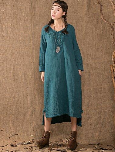MatchLife Femme Haut-bas Robe avec Crochet Lac Bleu