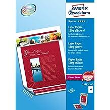 Avery 25983-100 Carta Fotografica Extra Glossy A3, 150G, Stampanti Laser, 100 Fogli, 420 x 297, Bianco