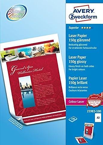 Avery Dennison Superior / 25983-100 Papier pour impression laser couleur A3 / 150g Brillant 100 feuilles (Import Allemagne)