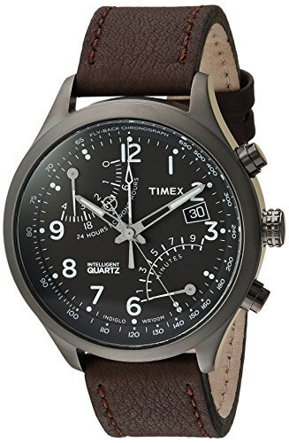 Timex Men\'s TWH3Z6110 Intelligent Quartz Fly-Back Chronograph Brown Leather Strap Watch