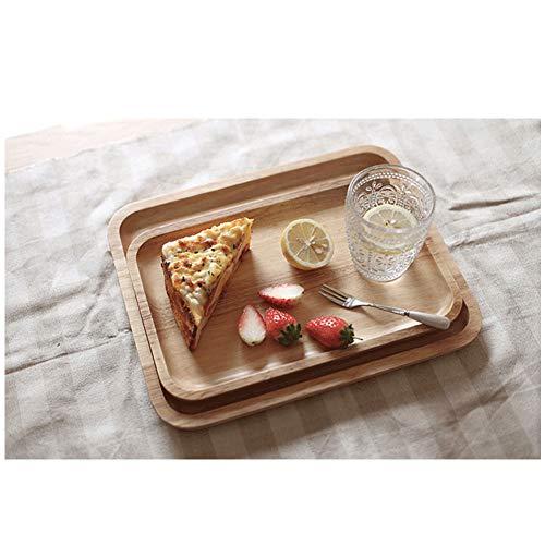 CJUERLS Geschirr Holz Tablett Rechteckige Kinder Frühstück Gerichte Kuchen Teller Gerichte Für Dessert Food Server Tablett