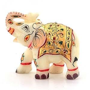 Little India Rajasthani Handmade Elephant Marble Handicraft (146, White)