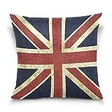 ALAZA Überwurf Kissen Fall dekorative Kissenhülle quadratisch Kissenbezüge, Vintage Union Jack British Sofa Bett Kissen Schutzhülle Twin Seiten, baumwolle, multi, 20 X 20 inch