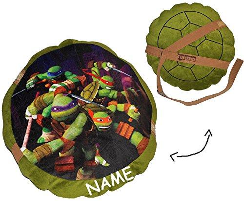 Plüsch Ninja Turtle Kostüm - alles-meine.de GmbH Teenage Mutant Ninja Turtles - Kissen - incl. Name / 44 cm * 44 cm - Kuschelkissen / Schildkrötenpanzer - groß sehr weich Kinder Schmusekissen Schildköte Jung
