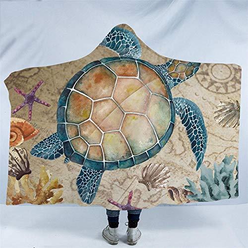 Turtle Fur Kinder Fleece (Sea Turtle Hooded Blanket Karte Schildkröte Sherpa Fleece tragbare Decke Nautical Starfish Flanell Throw Blanket)