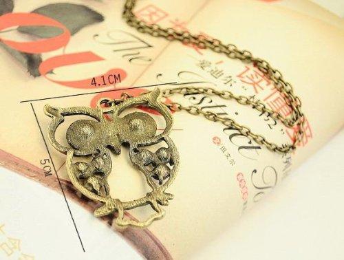 Retro Halskette Kette mit Eulen-Anhänger mit blauen Augen Lange Retro Vintage Halskette