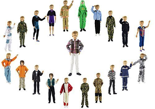 ZITA ELEMENT Puppen kleidung 13Artikel = 10 Set Mode Gut aussehend outdoor Clothes + 3 Paar Schuhe Outfit für Barbie's Boy Freund Ken doll XMAS GESCHENK