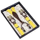 Frau / Mann Hosenträger Moderne Einstellbare und Hohe Qualität KANGDAI 6 Clips mit Y-Zurück Durable Breite Elastische Straps Hosenträger Abnehmbarer Gürtel für Hosen Hosenträger (Gelb)