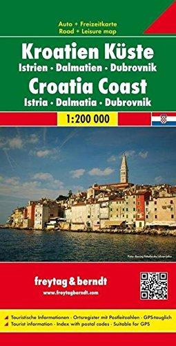 Straßenkarte: Kroatiens Küste - Istrien, Dalmatien, Dubrovnik, Maßstab 1:200.000