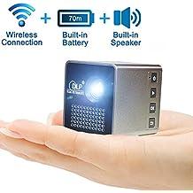 Mini proyector inalámbrico de desconexión inalámbrica ( pantalla síncrona con teléfono / iPad / PC vía WiFi ), proyector portátil Yisale® HD 1080P para teatro y juegos (soporte TF / USB)