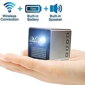 Projecteur sans fil sans fil Pocket (écran synchrone avec téléphone portable / iPad / PC via WiFi), Yisale® Full HD 1080P Projecteur LED portable pour théâtre et jeu (Support TF / USB)