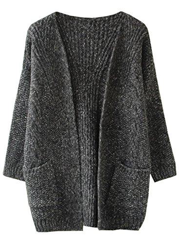 Futurino Damen Winter/Herbst Warme Knitwear Lässige Taschen Offener Cardigan Mantel
