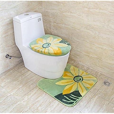 XWG Toilet mat / WC cuscino del sedile / affollarsi marrone semi di girasole in tre pezzi / toilette set copertura / servizi igienici anello / WC mat ( colore : 1# )