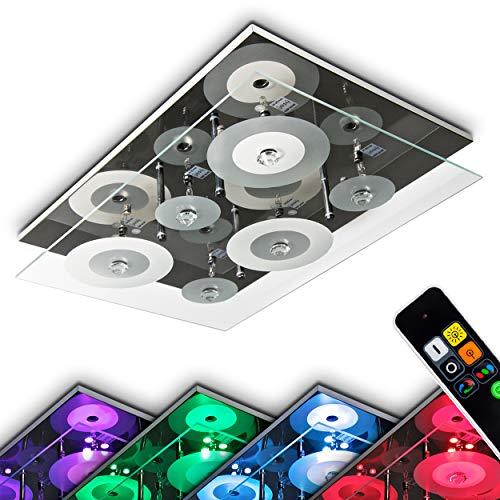 LED Deckenleuchte Everlight, eckige Deckenlampe in Chrom aus Glas, inkl. Farbwechsler & Fernbedienung, 6 x G4 je 35 Watt, 9 x LED 0,18 Watt, die LEDs können beliebig zugeschalten werden