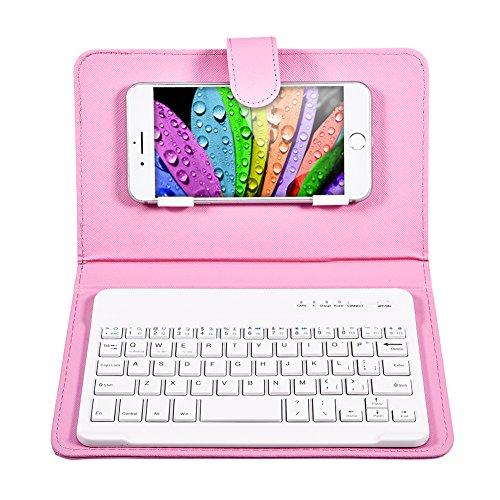 VBESTLIFE Universal Wireless Bluetooth Tastatur Flip Hülle mit Stand für iOS/Android Handys(rosa)