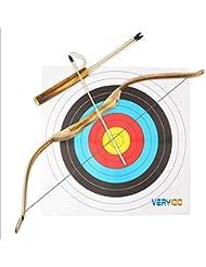 VERY100 99cm Tiro con Arco de madera + 3piezas 52cm Flechas con Puntas de Goma - Kit de juguete para la Práctica de Caza para niños