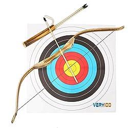 VERY100 99 cm Tiro con Arco de madera+3 piezas 52 cm Flechas con Puntas de Goma - Kit de juguete para la práctica de caza para niños