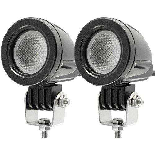 10W CREE LED spot del fascio luci di azionamento del lavoro lampade spot Offroad luci di nebbia 12V per motociclo Truvk ATV ATV SUV Blat JK faro (pacchetto di 2) (10W Round Floodlight)
