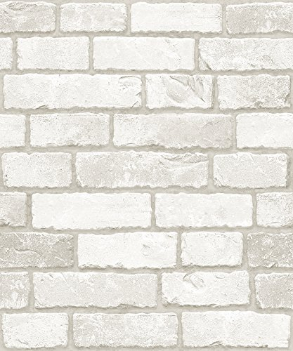 Vintage White Brick Pattern Contact Paper Self-adhesive Peel-stick Prepasted Wallpaper 19.6 Inch By 9.8 Ft by PixFix (Peel Wallpaper Easy)