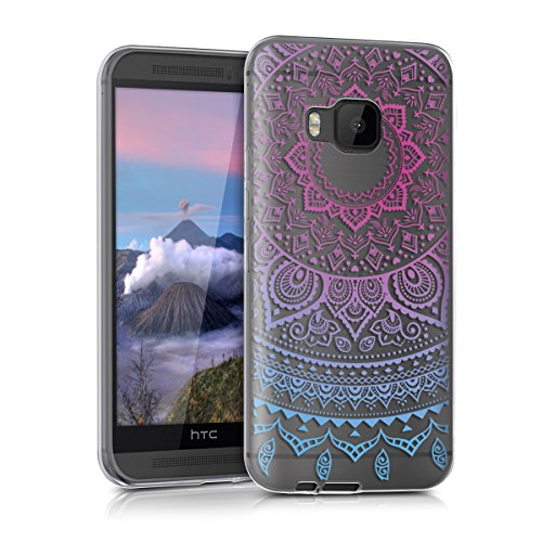 kwmobile HTC One M9 Hülle - Handyhülle für HTC One M9 - Handy Case in Blau Pink Transparent