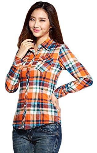 Smile YKK Chemisier Blouse Femme Col Chemise Coton Tops à Manches Longues Carreaux Chic Jaune Vert