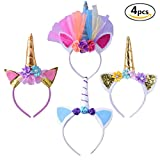 Geboor 4 Pack Einhorn Horn Stirnband Haarband Cosplay Kostüm für Geburtstagsfeier Feste